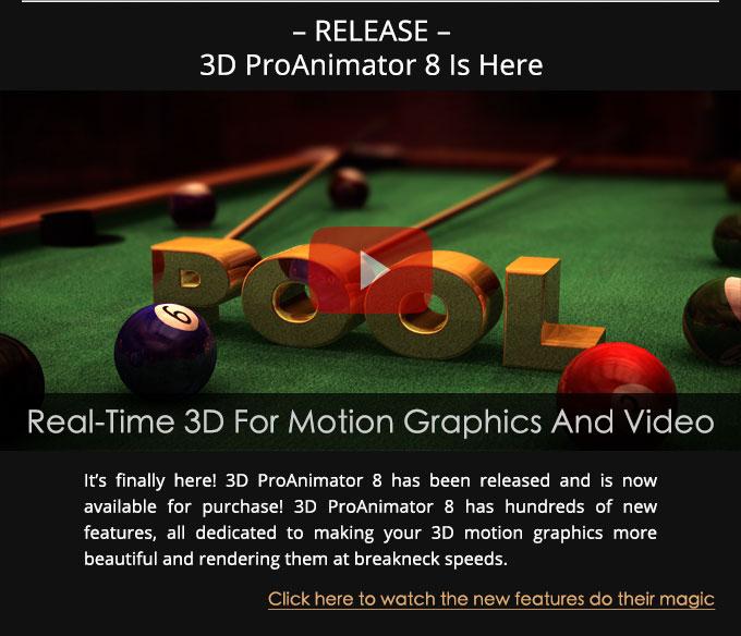 3D ProAnimator 8 Release