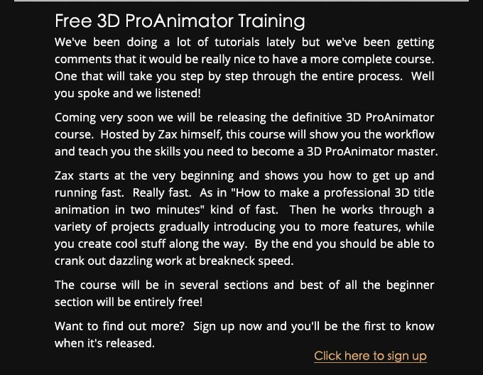 ProAnimator Training