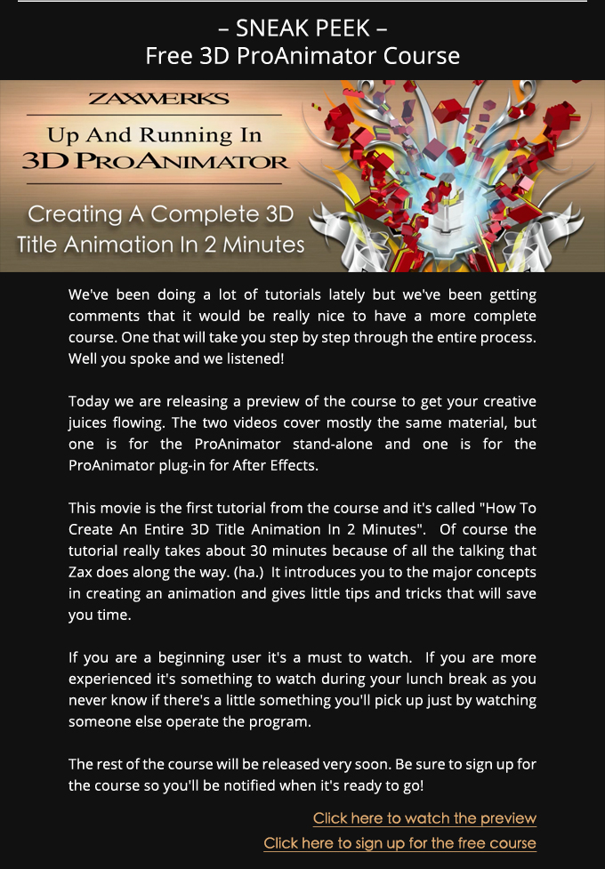 3D ProAnimator Training Course Sneak Peek